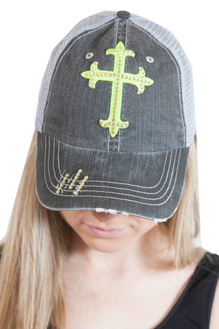 Gray Trucker hat with Chartreuse cross Clear Swarovski Crystals , Lucky Rhinestone Boutique - 1