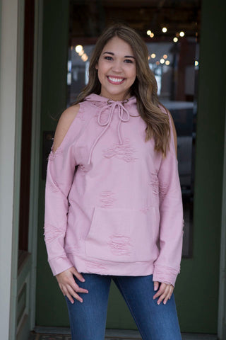 Rose distressed cold shoulder hoodie Top