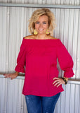 Fuchsia off shoulder blouse top