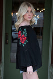Black Floral Embroidered Bell Sleeve Off Shoulder Shirt