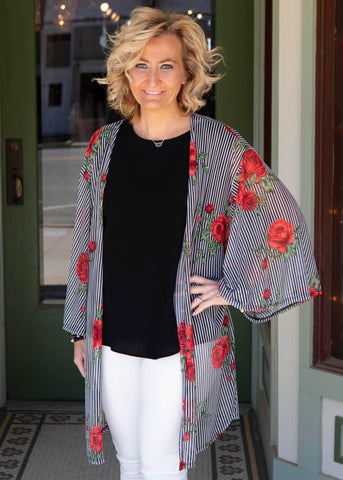 Black Red Floral Cardigan