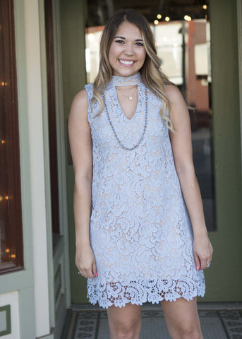 Light blue haltered neck lace dress