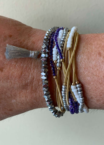 Purple White Silver Game Day Erimish Bracelet