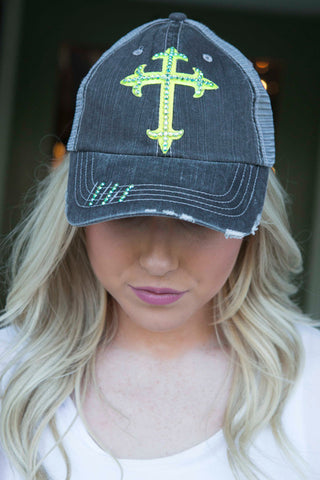 Gray Trucker Hat with Chartreuse Cross and Teal Swarovski Crystals