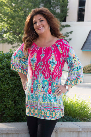 Fuchsia Mint Print Dress / tunic with bell sleeves , Lucky Rhinestone Boutique - 1