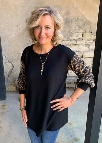 Black Shirt with leopard sleeves