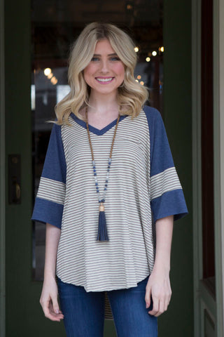 Oatmeal V Neck Stripe Baseball Tee