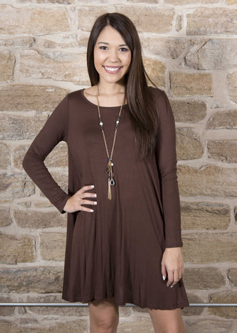 Brown rayon long sleeve a cut tunic dress , Lucky Rhinestone Boutique - 1