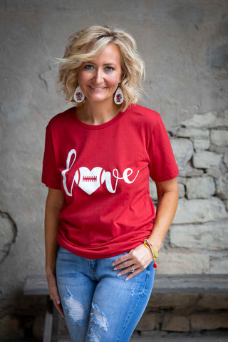 Red Love Football Tee