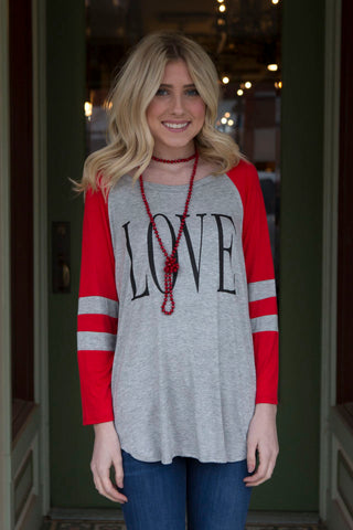 Red and grey 3/4 sleeve top