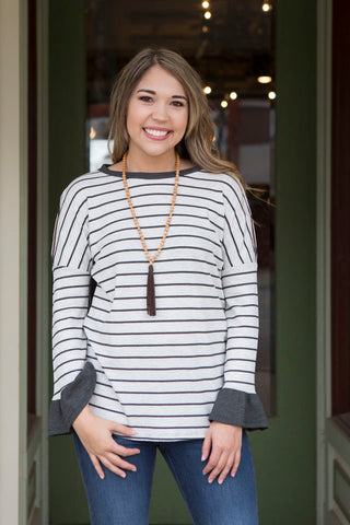 Grey Striped Top