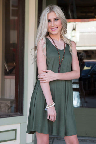 Olive rayon trapeze tank swing dress , Lucky Rhinestone Boutique - 1