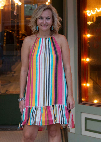 Tropical Stripe Halter Dress