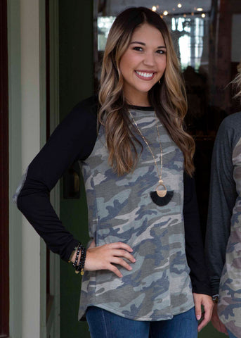 Camo Raglan With Elbow Patch Top