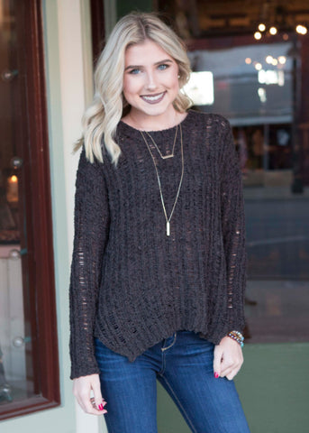 Brown sweater , Lucky Rhinestone Boutique - 1