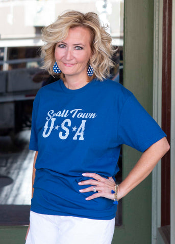 Small Town USA cool blue shirt