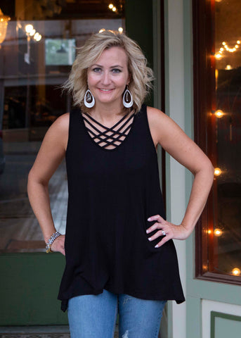 Black Sleeveless Criss Cross Tunic