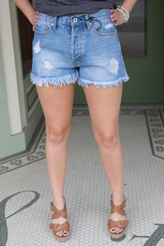 Light Denim Shorts With Raw Hem