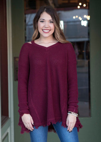 Burgundy cold shoulder sweater with fringe , Lucky Rhinestone Boutique - 1