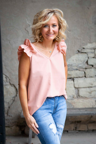 Blush V-Neck Top With Ruffle