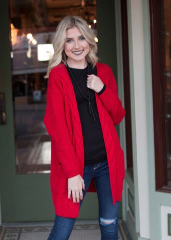 Red Cardigan , Lucky Rhinestone Boutique