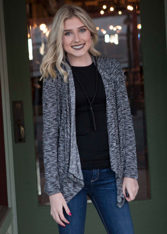 Gray & Black Cardigan , Lucky Rhinestone Boutique - 1