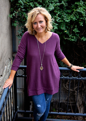 Eggplant thermal waffle v-neck top