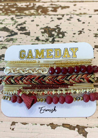 Burgundy Gold Gameday Erimish Bracelet