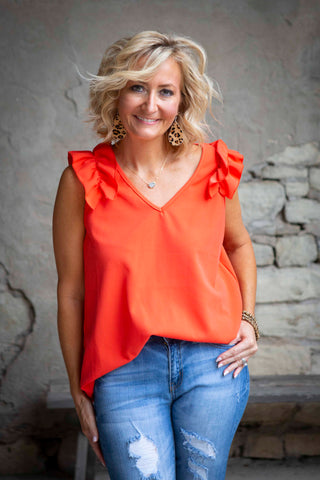 Orange V-Neck Top With Ruffle
