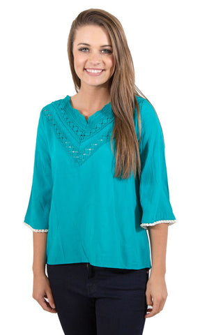 Teal V Neck with cream fringe , Lucky Rhinestone Boutique - 1