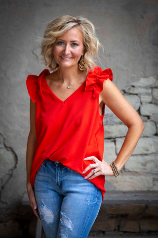 Red V-Neck Top With Ruffle