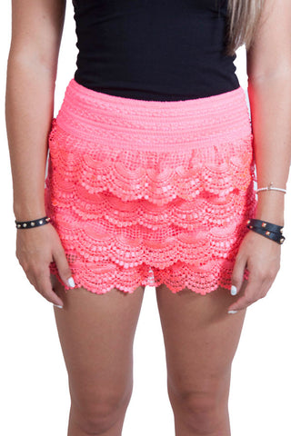 Pink Lace Shorts , Lucky Rhinestone Boutique - 1
