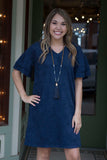 Denim Blue Short Sleeve Dress