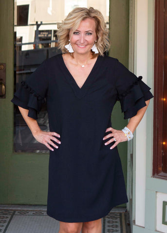 Black pom pom tiered sleeve dress