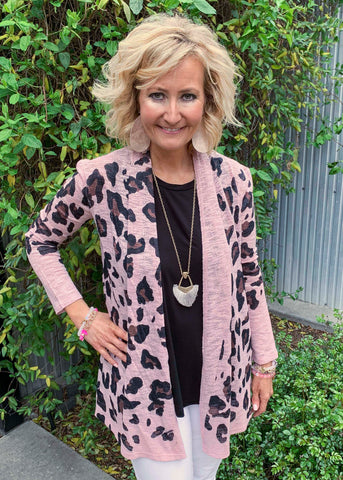 Mauve Cheetah Print Open Cardigan