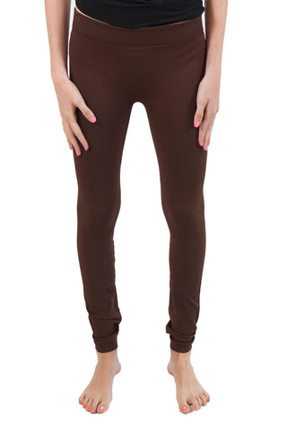 Niki Biki Ribbed Leggings One Size Fits Most One Size Fits Most / Brown, Lucky Rhinestone Boutique - 1