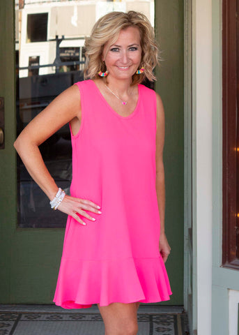 Neon pink sleeveless dress