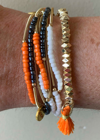Orange Black White Game Day Erimish Bracelets