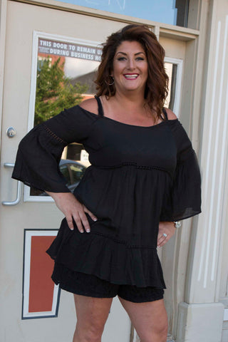 Black Bell Sleeve Teared Tunic , Lucky Rhinestone Boutique - 1