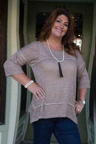 Mocha Relaxed Fit Square Stitch Tunic
