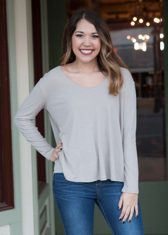 khaki long sleeve ribbed knit top , Lucky Rhinestone Boutique