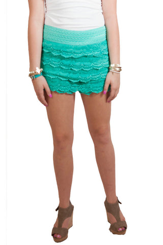 Mint Green Lace Shorts , Lucky Rhinestone Boutique - 1