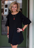 Black bell sleeve dress