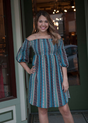 Teal crepe jersey off shoulder striped dress tunic