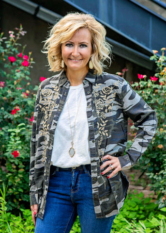 Camo shirt with embellishments