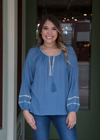 Slate Blue Long Sleeve Top