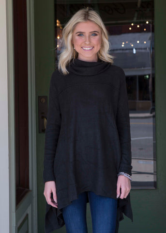 Black Sharkbite Cowl Neck Sweater