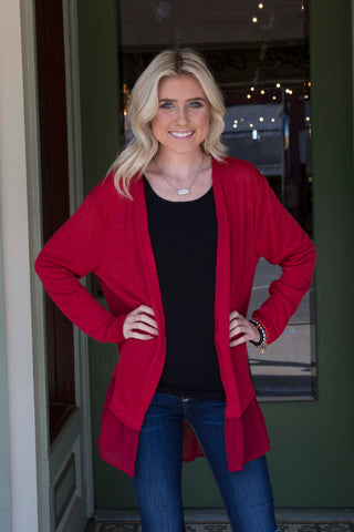 Red Cardigan with Ruffled Hemline