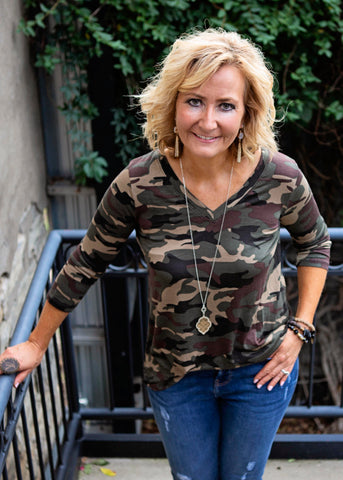 Camo 3/4 Sleeve Top