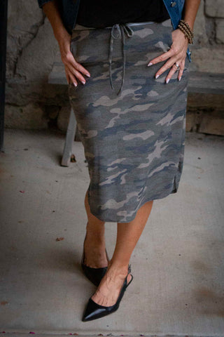 Camo Midi Skirt With Elastic Waist